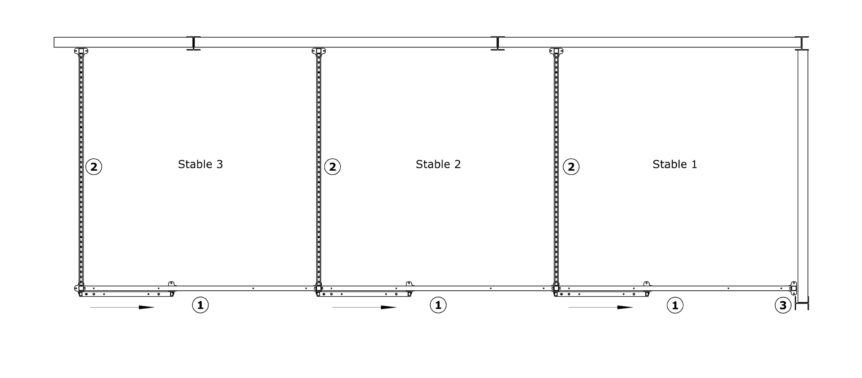 Arrangement B4 – Sliding Door Stables, plastic boards and half grille partitions