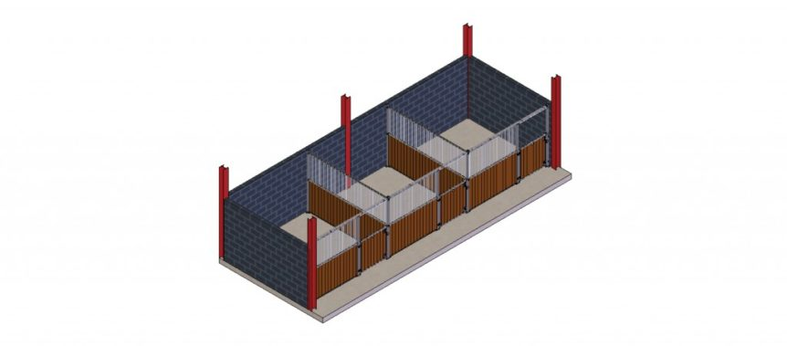 Arrangement A11 – Swing Door Stables, between walls, plastic boards and half grille partitions