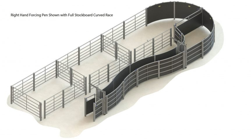 H000 0000 63 – 004 – cattle handling system RH curved race full stockboard without crush